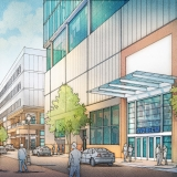 515074- Digital Watercolor Architectural Rendering of Overbuild Street View for Cope Linder Architects