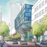 515074- Digital Watercolor Architectural Rendering of Overbuild from a Street View for Cope Linder Architects