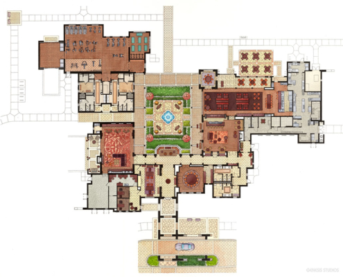 Watercolor Site Plan of Cahill Homes Clubhouse
