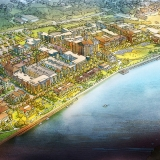 515111 Digital Watercolor Architectural Rendering of Savannah Riverfront from an Aerial View for Cooper Carry Architecture Firm