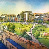 515111 Digital Watercolor Architectural Rendering of Savannah Riverfront Lawn for Cooper Carry