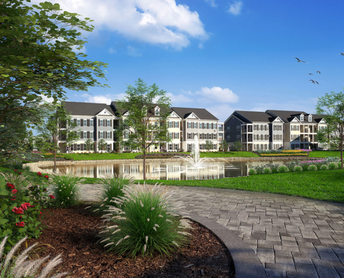 515136 Digital Photorealistic Architectural Renderings of Westbrook Village for Greenview Properties