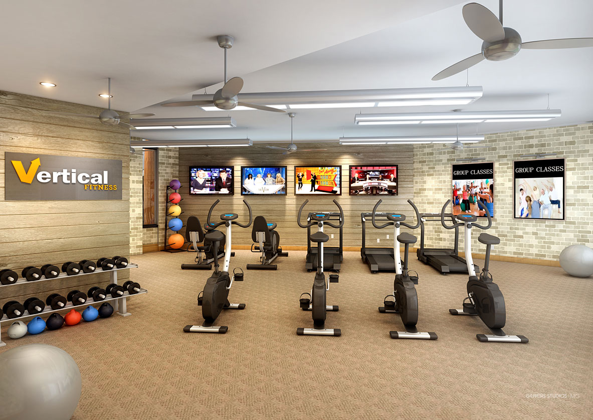 Digital Photorealistic Architectural Rendering of Celebration Village Fitness Club for Active Senior Concepts