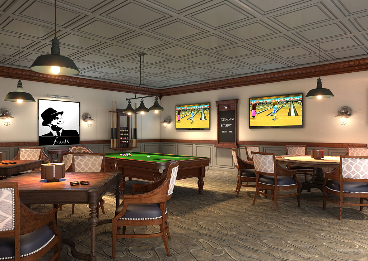 Digital Photorealistic Architectural Rendering of Celebration Village Game Parlor for Active Senior Concepts