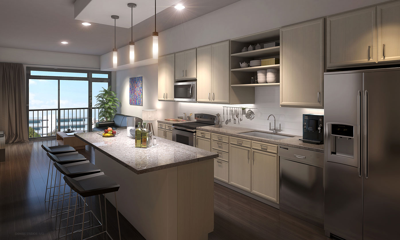 515146 Digital Photorealistic Architectural Renderings of Eight South Kitchen for H. Michael Hindman Architects