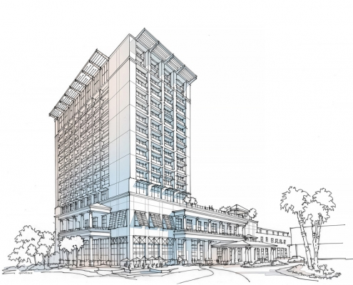 515149 Digital Watercolor Architectural Rendering of Sandestin for Cooper Carry Architects