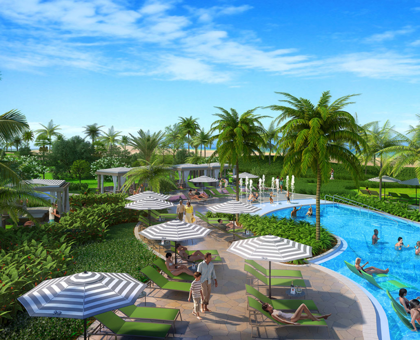 515154 Digital Photorealistic Architectural Rendering of Wyndham Pool for EDSA