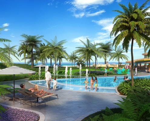 515154 Digital Photorealistic Architectural Rendering of Wyndham Splash Pad for EDSA