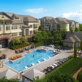 515171 Digital Photorealistic Architectural Renderings of Bryton Pool from an Aerial View for Charlan Brock Associates