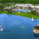 Digital Photorealistic Architectural Rendering of Twin Lake from an Aerial View for Emerson International