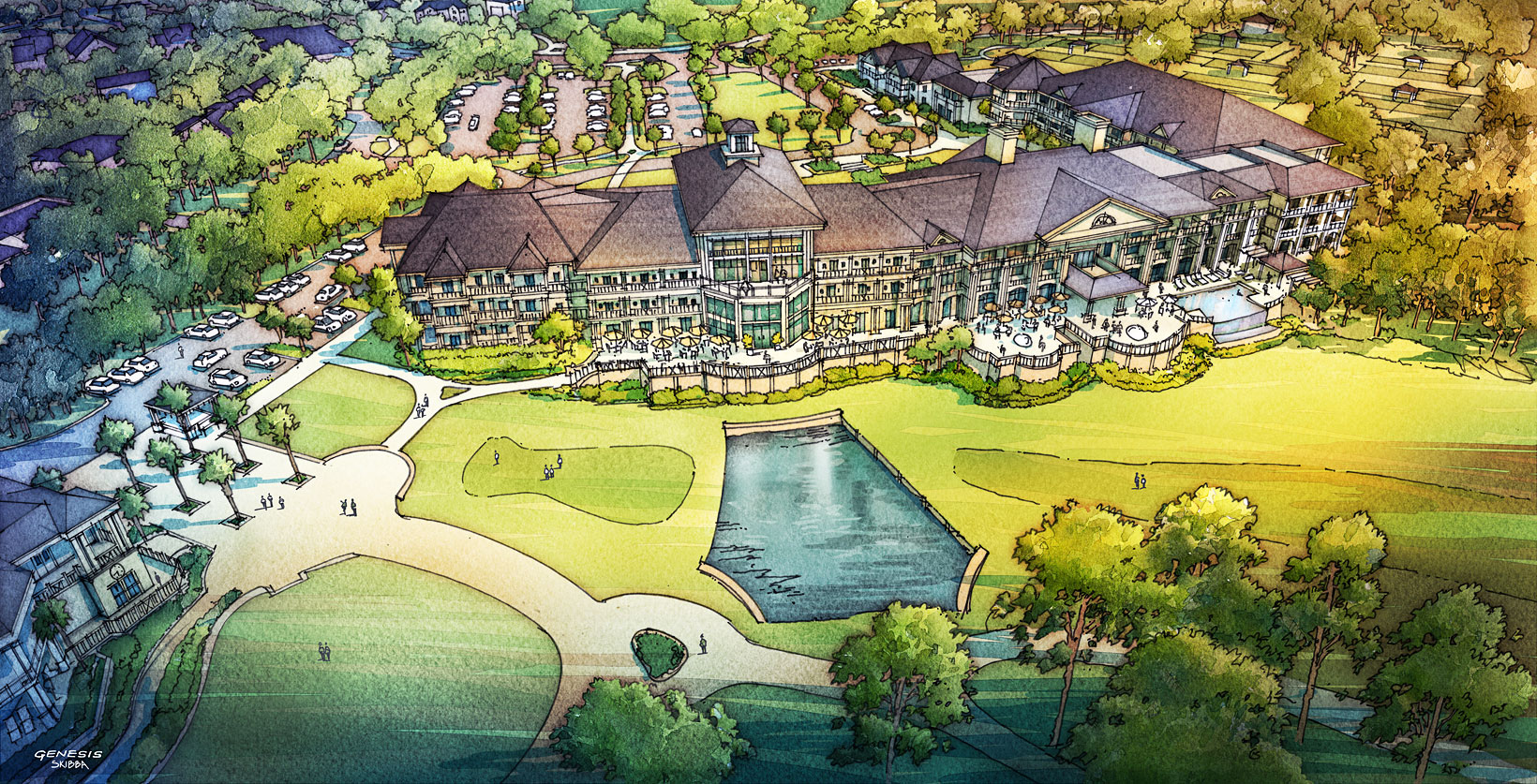 515181 Digital Watercolor Architectural Rendering of Sea Pines from an Aerial View for Cooper Carry