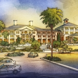 515181 Digital Watercolor Architectural Rendering of Sea Pines Front Entrance for Cooper Carry