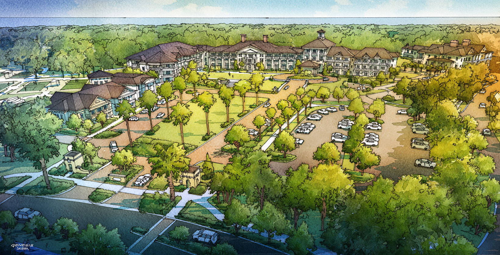 515181 Digital Watercolor Architectural Rendering of Sea Pines Housing from an Aerial View for Cooper Carry