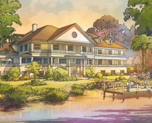 515185 Digital Watercolor Architectural Rendering of Sweetwater Inn with a View from the Lake for Niles Bolton