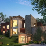 616009 Digital Photorealistic Architectural Renderings of Syracuse Student Housing Exterior at Dusk for Charlan Brock Associates