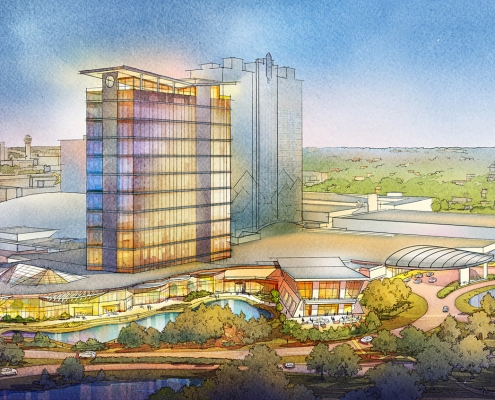 616017- Digital Watercolor Architectural Rendering of Resort & Casino from an Aerial View for Cope Linder Architects