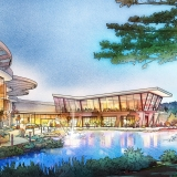 616017- Digital Watercolor Architectural Rendering of Resort & Casino with a View of the Lake for Cope Linder Architects