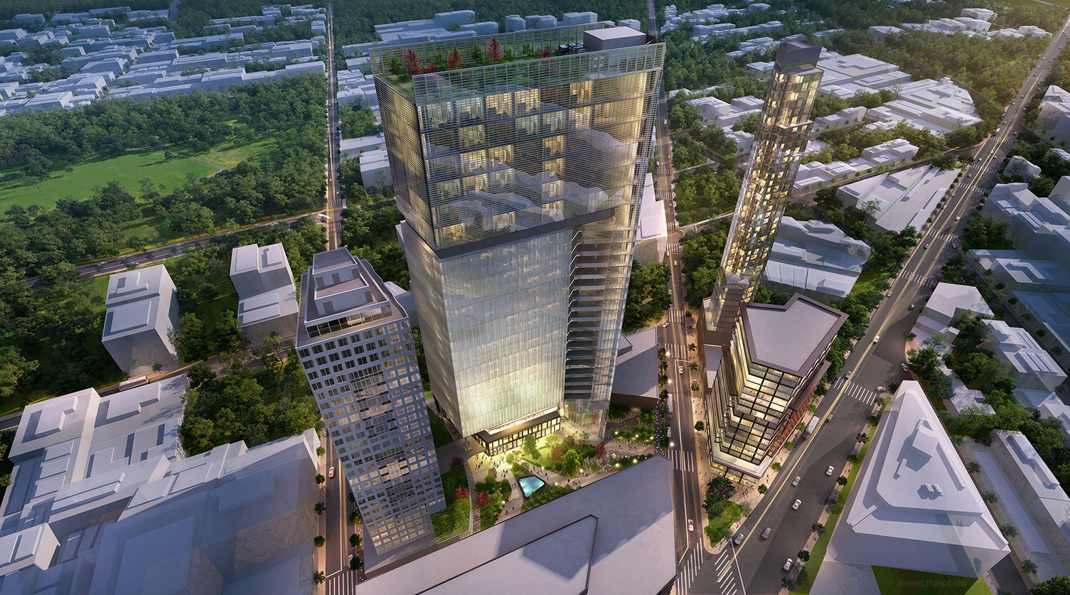 616023 Digital Photorealistic Architectural Renderings of Fulton Tower Aerial at Dusk for Zoning & Code Consulting Group