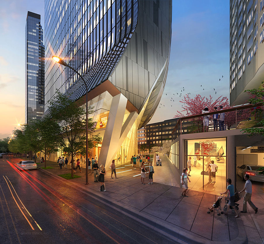 616023 Digital Photorealistic Architectural Renderings of Fulton Tower at Dusk for Zoning & Code Consulting Group
