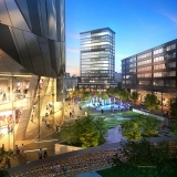 616023 Digital Photorealistic Architectural Renderings of Fulton Tower Fountains at Dusk for Zoning & Code Consulting Group