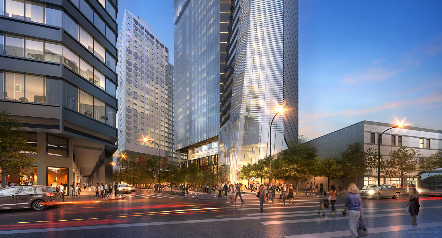 616023 Digital Photorealistic Architectural Renderings of Fulton Tower Street View at Dusk for Zoning & Code Consulting Group