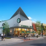 616026 Digital Photorealistic Architectural Renderings of Starbucks Coffee Exterior for The Eisen Group