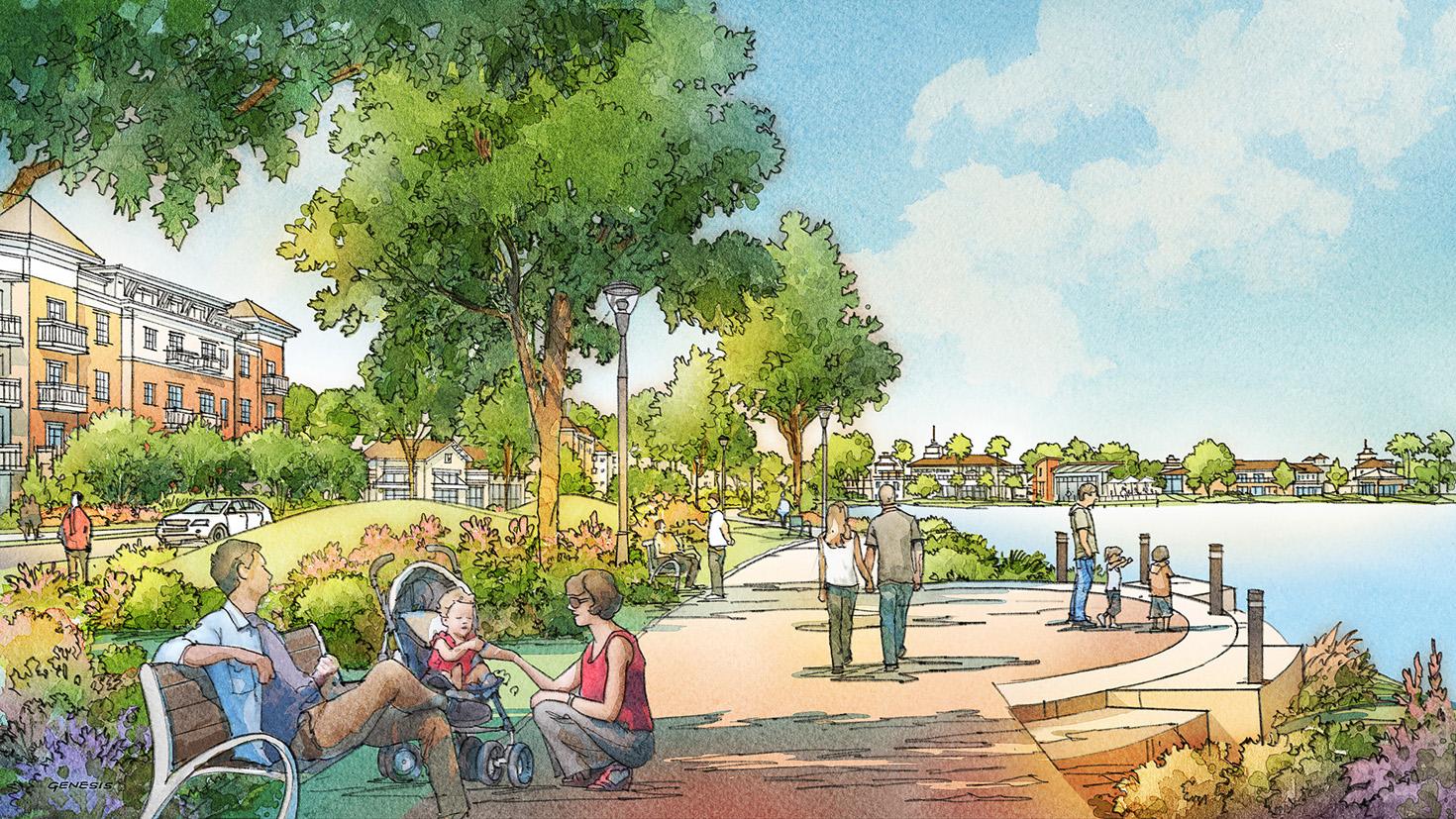 616030- Digital Watercolor Architectural Rendering of Gate Parkway Lake for CallisonRTKL