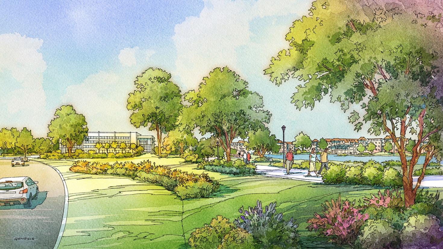 616030- Digital Watercolor Architectural Renderings of Gate Parkway Park for CallisonRTKL