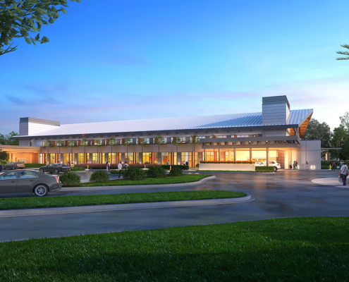 616032 Digital Photorealistic Architectural Renderings of Horizon West Emergency Exterior for Hunton Brady Architects