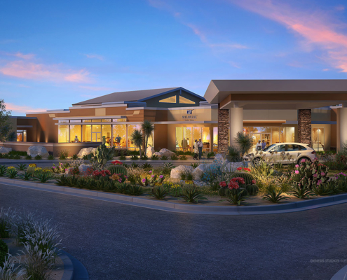 616034 Digital Photorealistic Architectural Rendering of Welbrook Las Cruces Exterior at Dusk for Lantz Boggio Architects