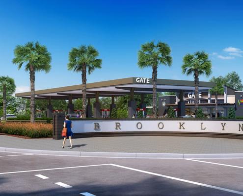 616052 Digital Photorealistic Architectural Rendering of Gate at Riverside Exerior for Ervin Lovett Miller