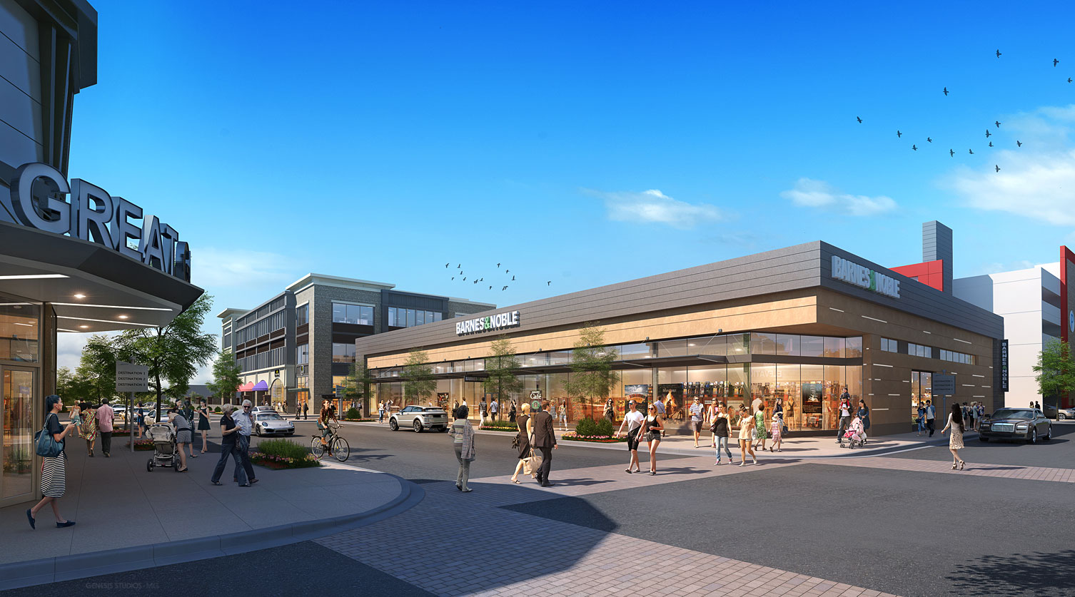 616055 Digital Photorealistic Architectural Renderings of Barnes & Noble Exterior for The Eisen Group