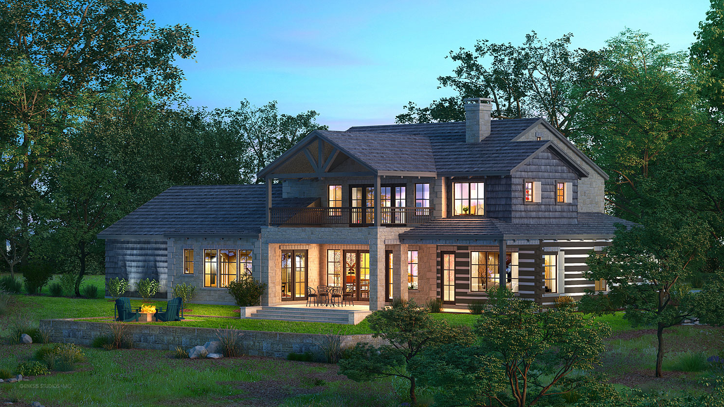 616056 Digital Photorealistic Architectural Renderings of Boot Ranch Villas Baron Country Home Backyard for Wheelock Communities