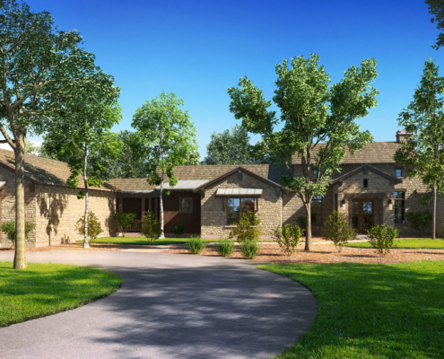 616056 Digital Photorealistic Architectural Renderings of Boot Ranch Villas Texas Live Oak Front Yard for Wheelock Communities