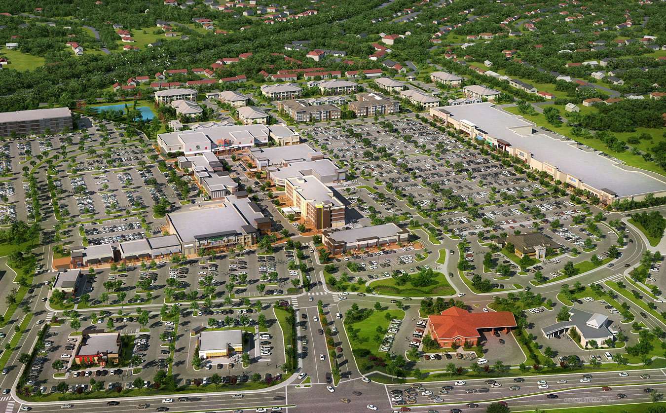 616064 Digital Photorealistic Architectural Renderings of One Bellevue from an Aerial View for H. Michael Hindman Architects