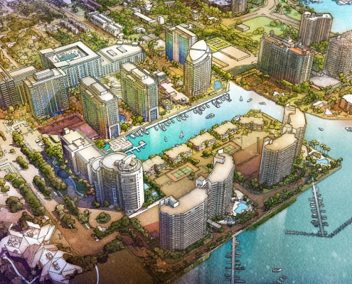 616067- Digital Watercolor Illustration of Sarasota Quay from an Aerial View for Baker Barrios
