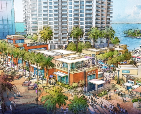 616067 Digital Watercolor Architectural Rendering of Sarasota Quay Shops from an Aerial View for Baker Barrios