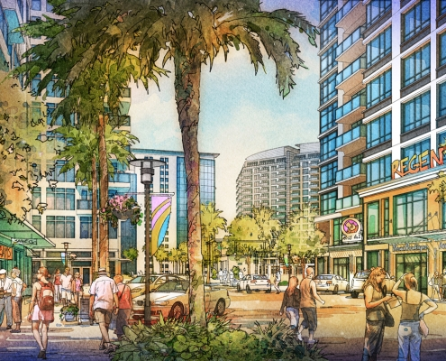 616067 Digital Watercolor Architectural Rendering of Sarasota Quay from a Street View for Baker Barrios