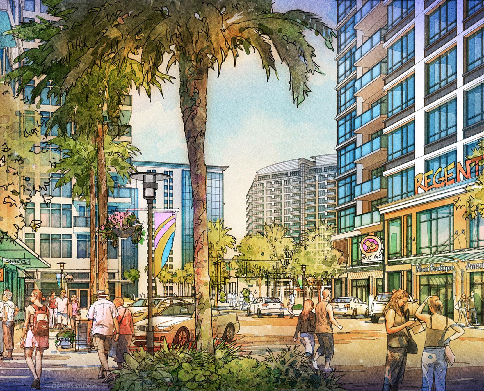 616067- Digital Watercolor Architectural Rendering of Sarasota Quay for Baker Barrios