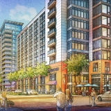 616067- Digital Watercolor Illustration of Sarasota Quay from a View of the Street Corner for Baker Barrios