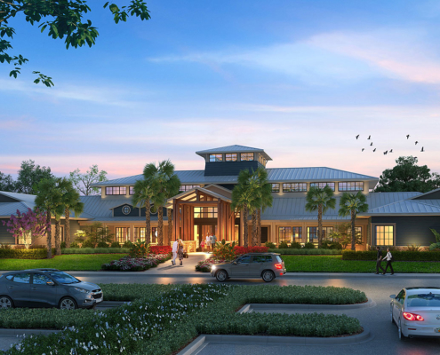 616068 Digital Photorealistic Architectural Rendering of Mystic Dunes Exterior at Dusk for Miles Architectural Group