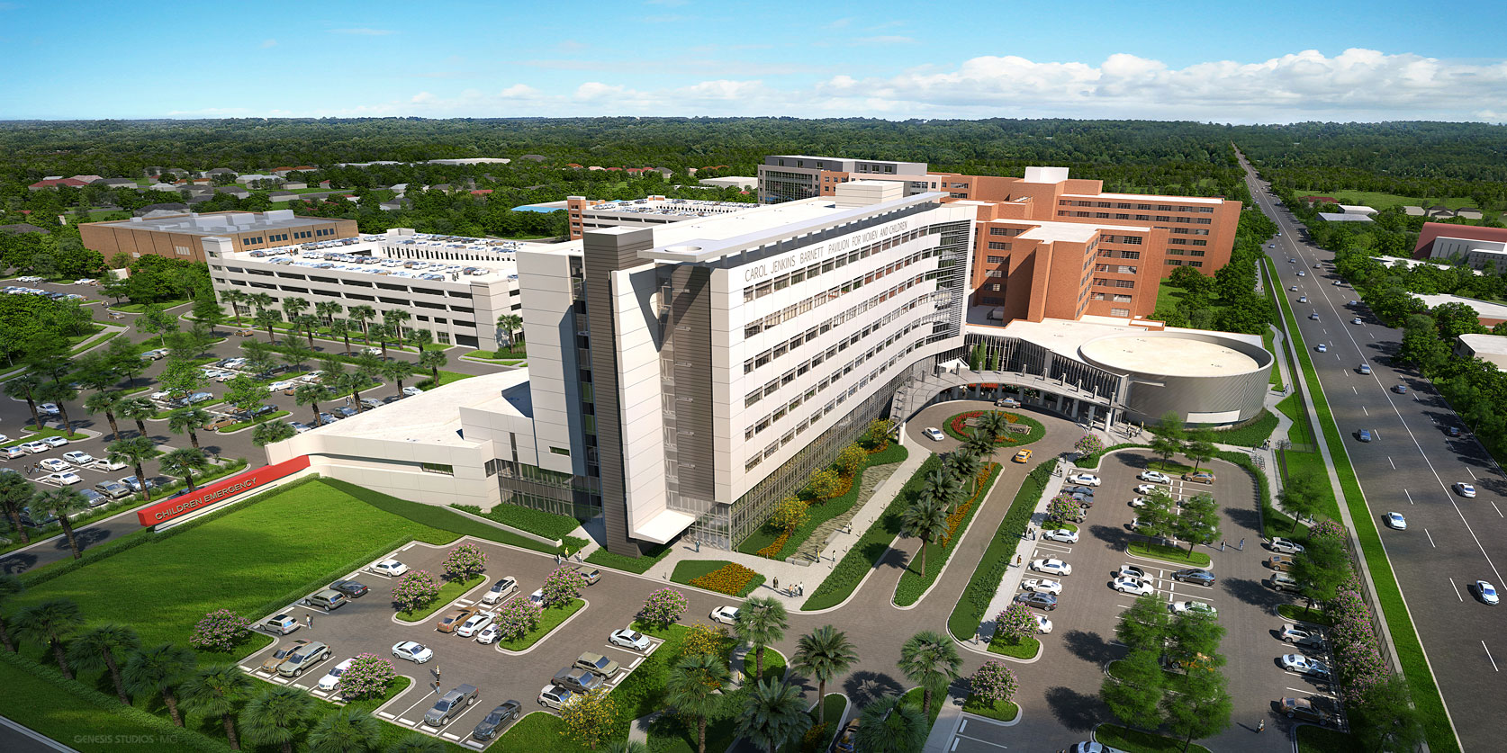616070 Digital Photorealistic Architectural Renderings of Lakeland Regional Medical Center from an Aerial View for Hunton Brady Architects