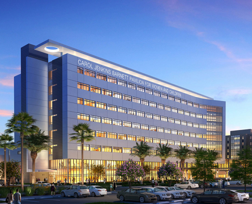 616070 Digital Photorealistic Architectural Renderings of Lakeland Regional Medical Center Exterior at Dusk for Hunton Brady Architects