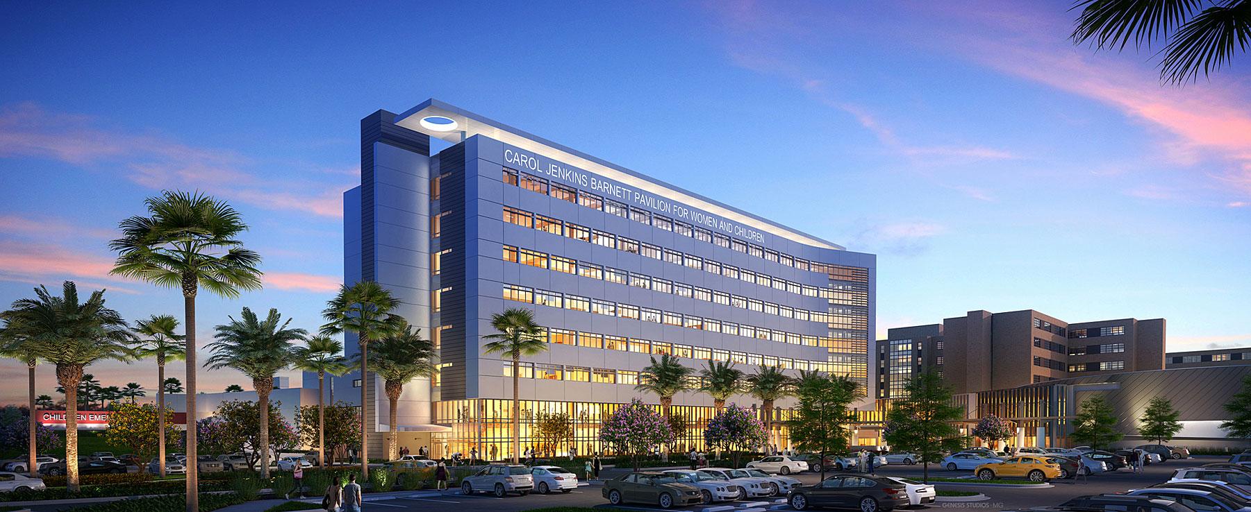 616070 Digital Photorealistic Architectural Renderings of Lakeland Regional Medical Center Exterior at Dusk for Hunton Brady Architects