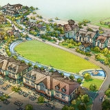 616074 Digital Watercolor Architectural Rendering of Tryon Housing from an Aerial View for EDSA