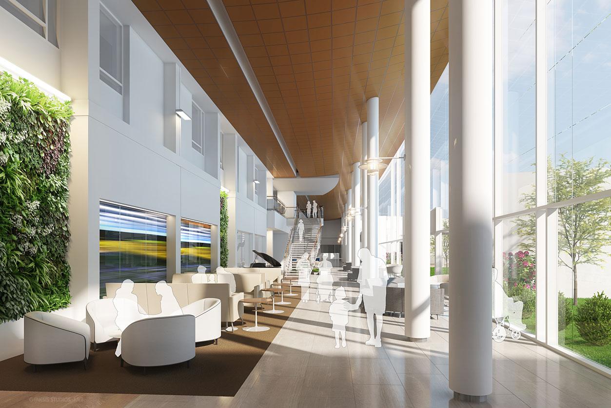 Digital Photorealistic Architectural Renderings of Florida Hospital Heartland Atrium for Hunton Brady Architects