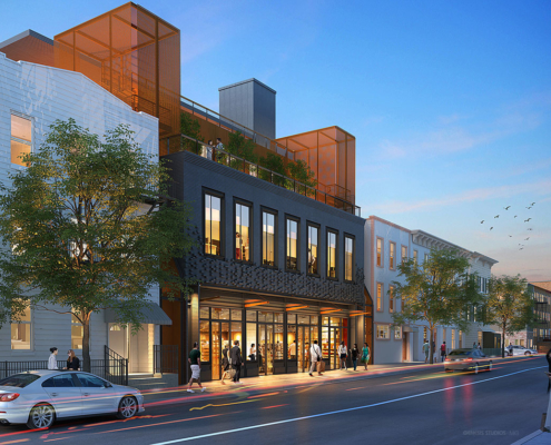 616127 Digital Photorealistic Architectural Renderings of 71 North 7th Street at Dusk for Zoning and Code Consulting Group