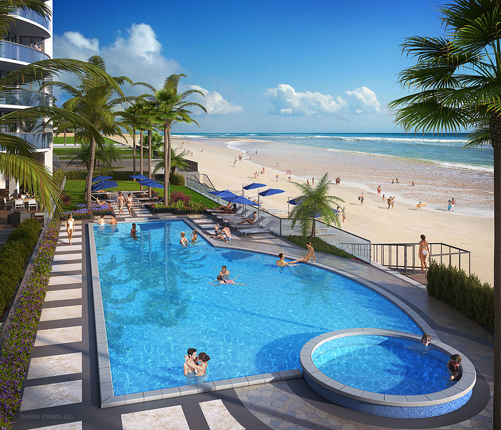 Digital Photorealistic Architectural Renderings of Max Daytona Pool for WJ Weeks Architecture