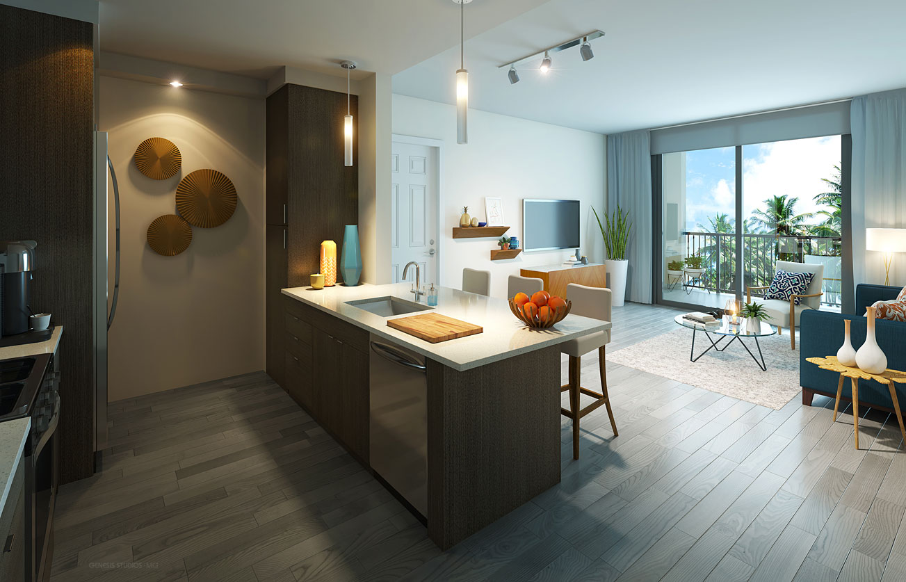 Digital Photorealistic Architectural Renderings of Mirador Doral Kitchen for RAM Realty Services