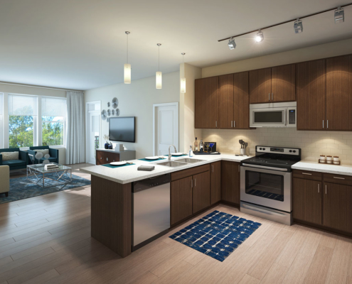 616160 Digital Photorealistic Architectural Renderings of Durham Exchange Kitchen for RAM Realty Services